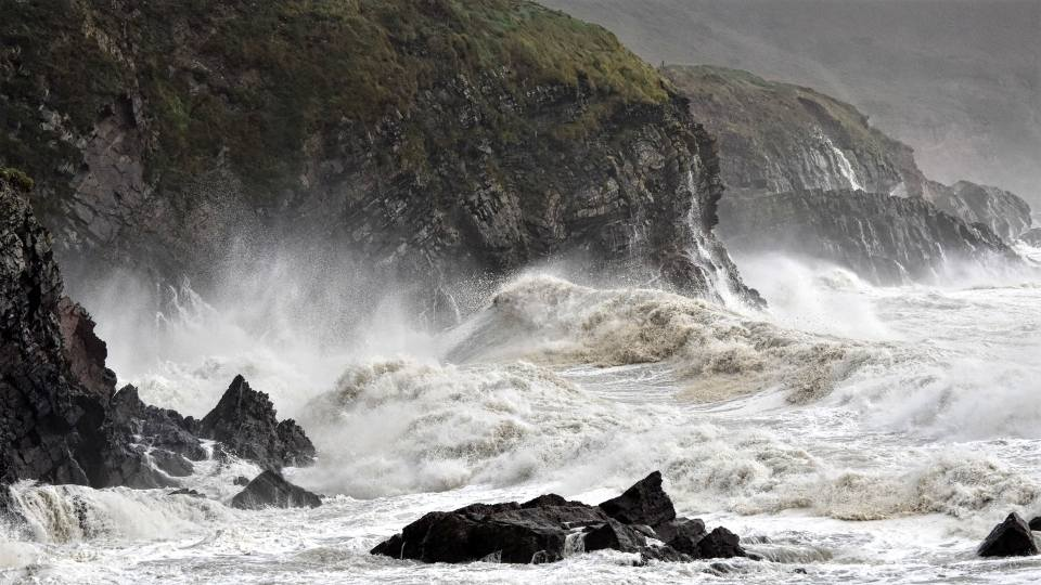 Waves crashing into the Cork coastline during Hurricane Ophelia